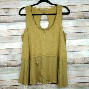 LITTLE YELLOW BUTTON Anthro Olive Green Tank Top
